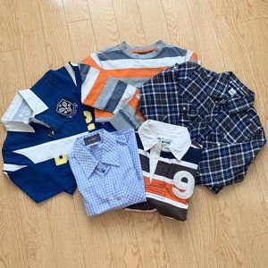 Boy's Long Sleeve Shirt Top Tee Collared Stripes